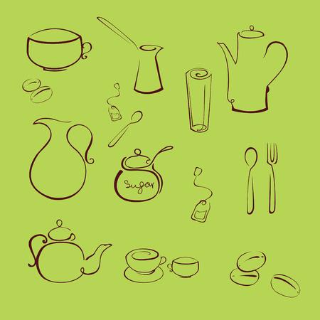 mestolo:  illustrazione di utensile da cucina Design Set realizzato con semplice linea solo Vettoriali