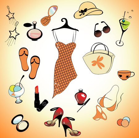 martini:   illustration of different items related to glamour summer lifestyle.