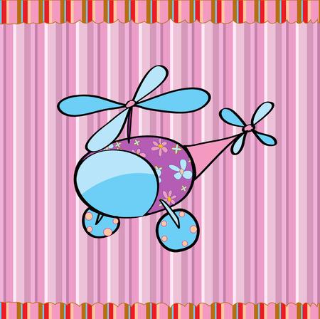 Ilustración de la caricatura de un helicóptero poco sexy en el fondo de rayas retro