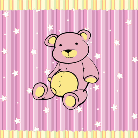 Cartoon   illustration of Cute little teddy bear on the retro striped  background Vector