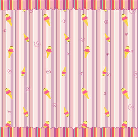 funky background: Cartoon   illustration of  retro funky background with cool ice cream