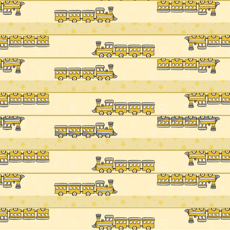 Cartoon  illustration of retro funky background with cool little trains Vector