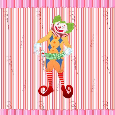 illustration of clown juggling colorful playing card on the retro striped background Vector