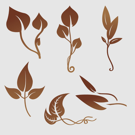 illustration set of design plants silhouettes Vector
