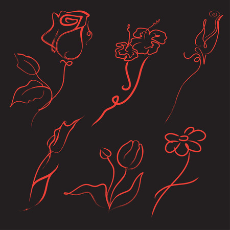 illustration of flowers Design Set made with simple line only Vector