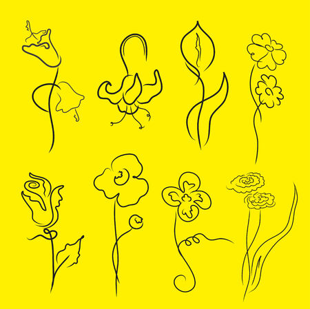 sepal:  illustration of flowers Design Set made with simple line only