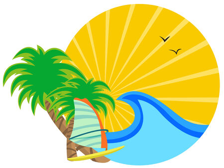 illustration of  insignia with Sunrise on the tropical ocean coast Stock Vector - 8366176