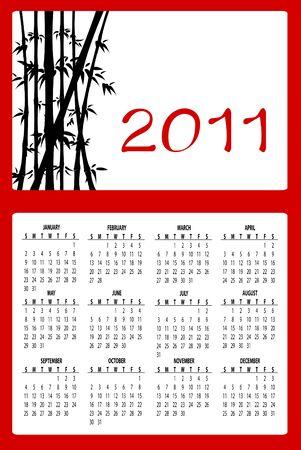 Illustration of asian style design Calendar for 2011 Stock Illustration - 8457069