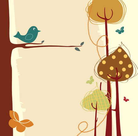 frutas divertidas: Ilustraci�n vectorial de tarjeta de felicitaci�n de dise�o de naturaleza retro con espacio de copia para el texto Vectores