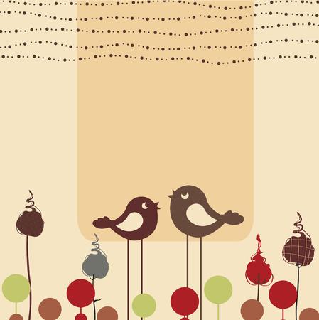 Ilustración vectorial de tarjeta de felicitación de diseño floral retro con dos pájaros de estilo retro Ilustración de vector