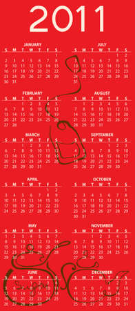 Illustration of tea style design Calendar for 2011 illustration