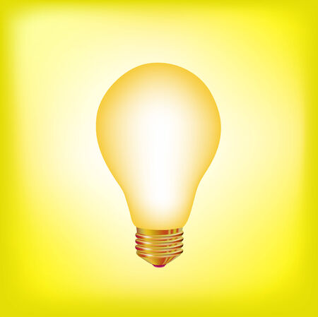 illustration of the light bulb brighting with yellow light  Vector