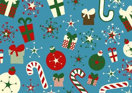 illustrazione di sfondo Natale. Include caselle presenti, caramelle, fiocchi e palle di Natale Vettoriali