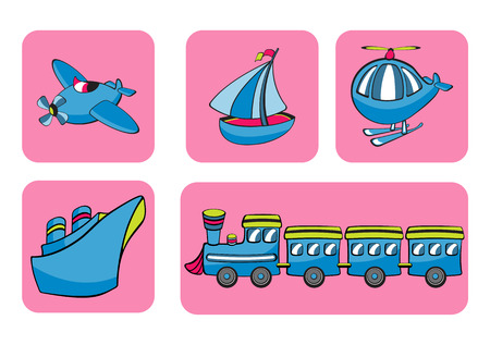 Illustration of transportation icons. Includes airplane, sailboat, helicopter, ship and train on the pink background.