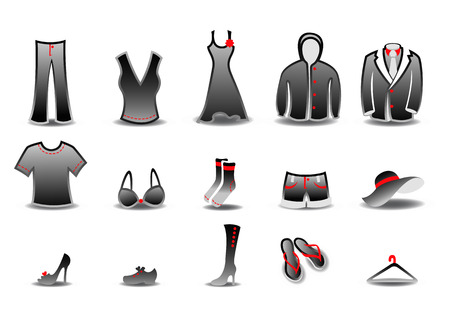 illustration set of fashion  Clothing and Accessories Icons Vector