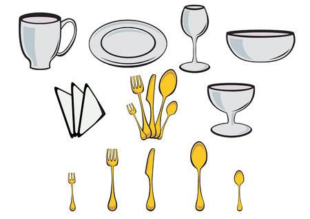 tea towel: illustration of Dining set. Kitchenware design elements