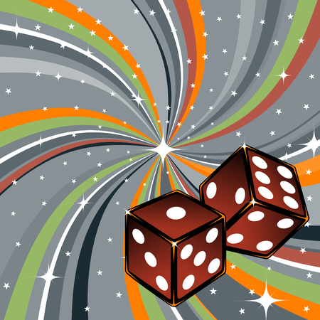 games of chance:   illustration of two dice on the beautiful shiny green background. Casino items.