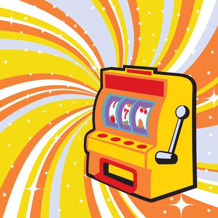 illustration of gambling machine on the beautiful shiny background Illustration