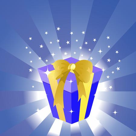 Illustration of birthday gift box on the shiny background. Stock Vector - 8657547