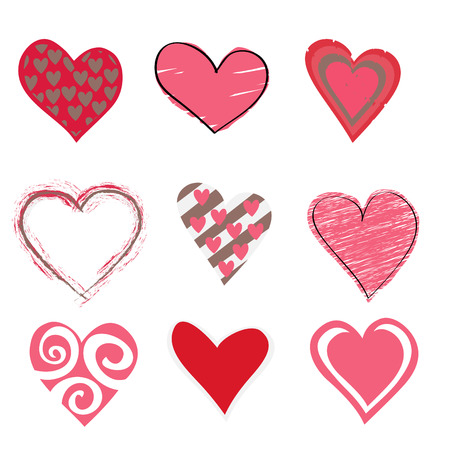 pink hearts:   illustration of beautiful hearts icon set. Ideal for Valentine Cards decoration.