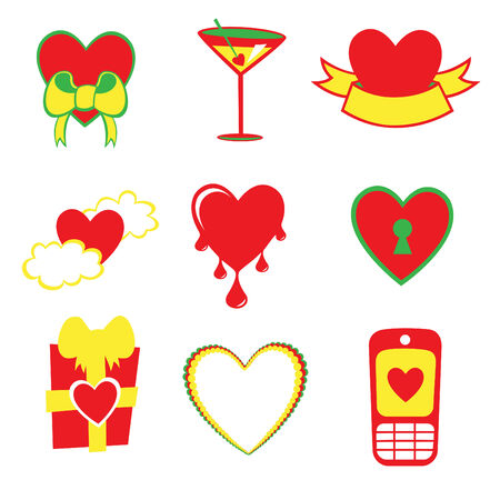 illustration of Love icons.  Ideal for Valentine Cards decoration Vector
