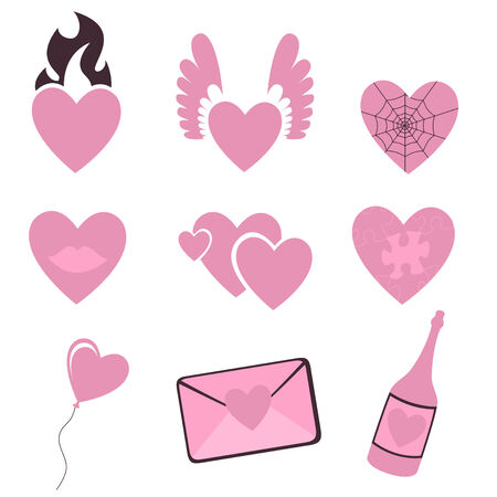 fire heart:   illustration of Love icons.  Ideal for Valentine Cards decoration