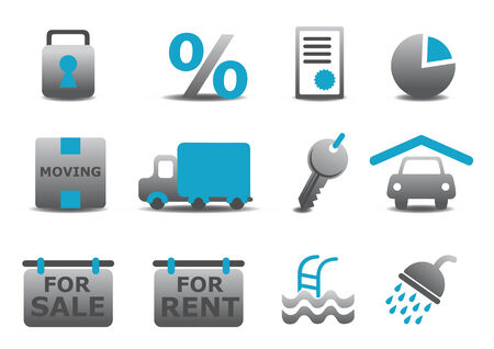 Vector illustration of real estate and moving icons set.You can use it for your website, application or presentation