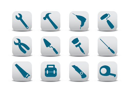 proffesional: Vector illustration of different kinds of proffesional instruments. Repairing tools buttons set.
