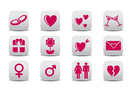 man vrouw symbool: Vector illustratie van liefde pictogrammen. Ideaal voor Valetine kaarten decoratie