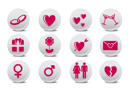 dating and romance: Illustrazione vettoriale dei pulsanti di amore.  Ideale per la decorazione di carte Valetine