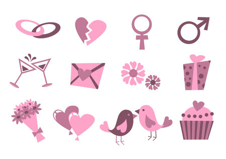 marriage cartoon: Vector illustration of Love icons.  Ideal for Valetine Cards decoration Illustration