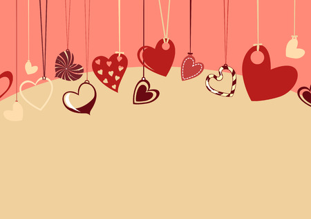 Vector illustration of Valentine's Day background, decorated with beautifull hearts. Vectores