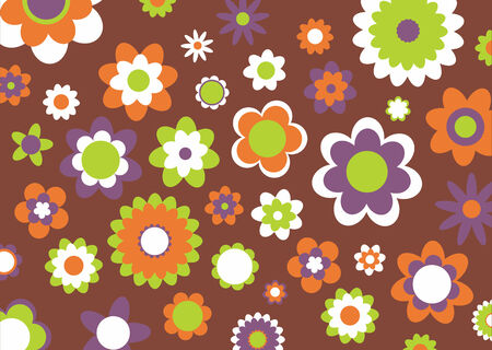 Vector illustration of multicolored funky flowers abstract pattern on brown background