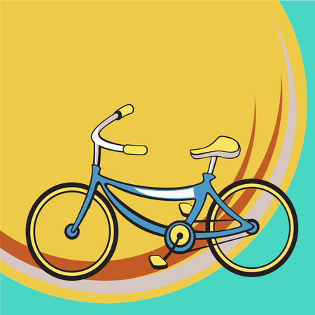Vector illustration of Transport Cartoon. Little funny retro bicycle. Vector