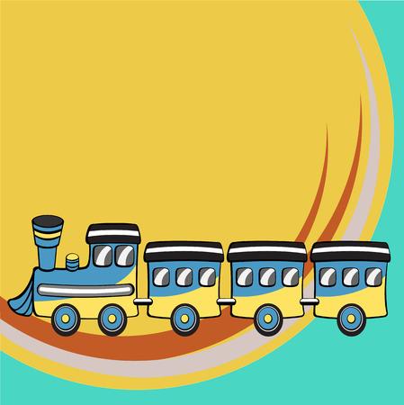 Vector illustration of Transport Cartoon. Little retro funny train Vector