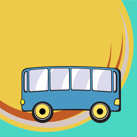 Vector illustration of Transport Cartoon . Little funny bus. Vector