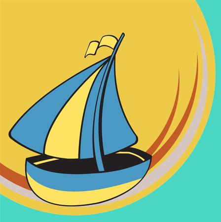 Vector illustration of Transport Cartoon. Little funny sailing ship Vector