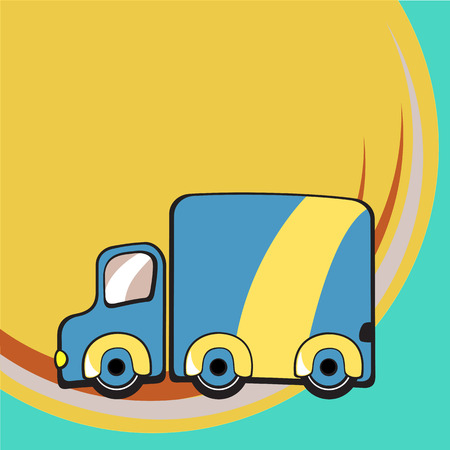 Vector illustration of Transport Cartoon. Little funky truck Vector