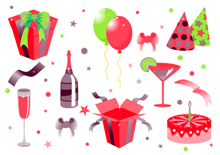 food and drink holiday: Vector illustration of funny birthday icons. Suitable for birthday cards and invotations.