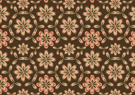 rounding: Vector illustration of round flowes abstract pattern on brown background