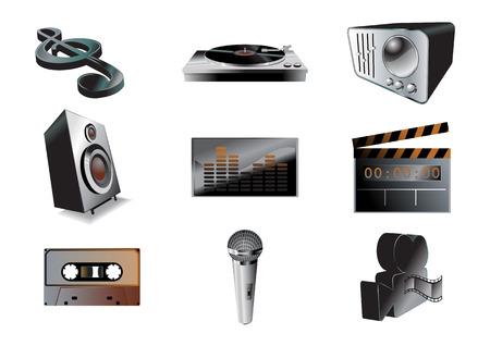 casette: Vector illustration of musicaudio icon set .You can use it for your website, application or presentation