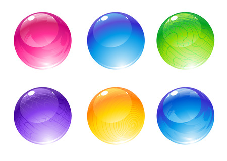 colored background: Vector illustration of the beautiful decoration balls set.