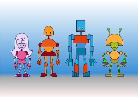 Vector illustration of funny cartoon robots family Vector