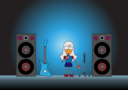 Vector illustration of the robot girl on the stage holding the microphone and singing.  Vector