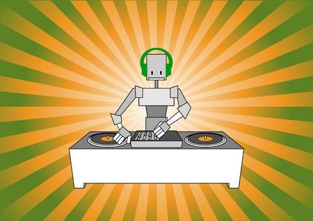 Vector illustration of dj robot on the beautiful, modern background.  Vector