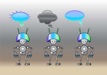 Vector Illustration of funny robots decorated with comics bubbles Vector