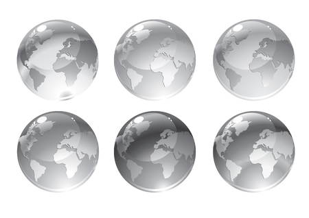 Vector Illustration of gray globe icons with different continents. Vector