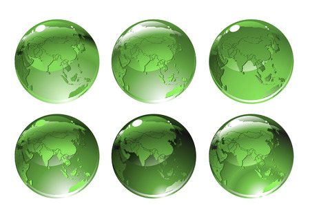 Vector Illustration of green globe icons with different countries. Vector