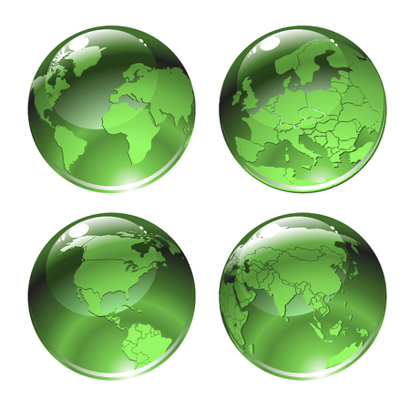 Vector Illustration of green globe icons with different continents. Vectores