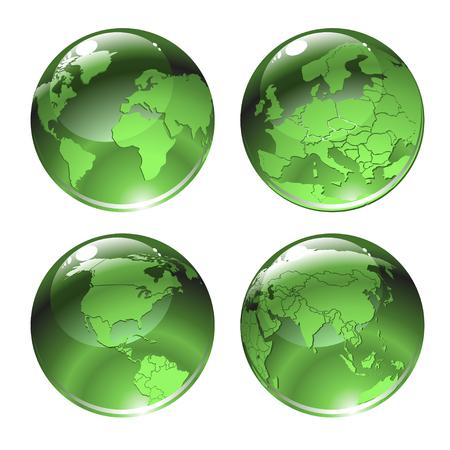 wereldbol groen: Vectorillustratie van groene wereld pictogrammen met verschillende continenten.